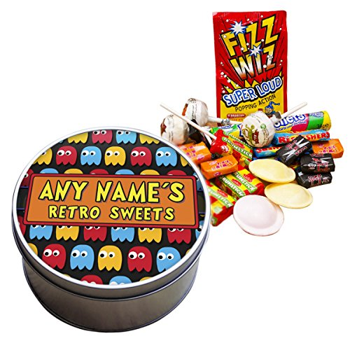 Pac-Man Ghosts Personalised Tin of Retro Sweets. Add any name.