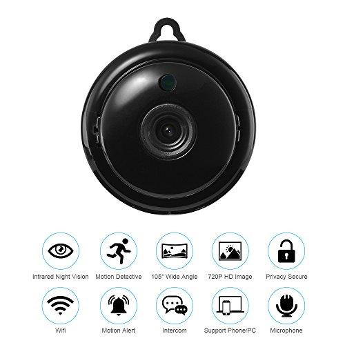 Mini IP Camera Wireless Wifi Home Security Smart Phone App 720p HD Video Cam Night Vision Motion Detection Alarm Onvif Monitor
