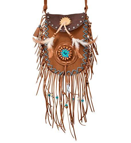 shoperama Bolso bandolera para mujer con flecos, plumas y perlas, estilo indio, hippie, vaquera, festival, tnico, accesorio para disfraz