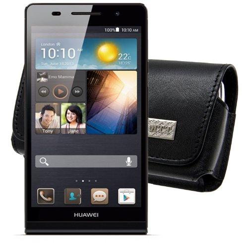 MTT Original Quer Tasche für das Huawei Ascend P6 mit gürtelclip in schwarz