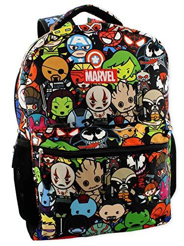 """Marvel Kawaii Avengers Boys Girls 16"""" School Backpack (One Size, Black/Multi)"""
