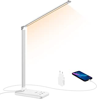 Lámpara LED Escritorio, Flauno Flexo LED Escritorio Regulable con Puerto USB, 5 Modos, 10 Niveles de Brillo, Temporizador,...