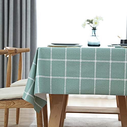 Kuingbhn Manteles Mesa Antimanchas Impermeable Resistente Al Desgaste Anti Escaldado Nórdico Moderno para Cocina Comedor Rejilla Grande Verde 90×138cm