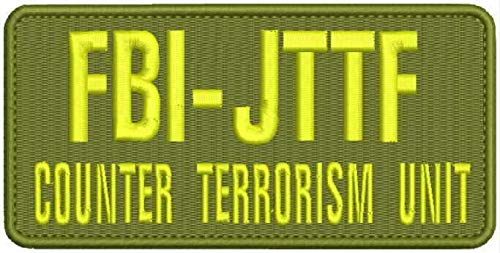Hook on Back Embroidered Patch of FBI JTTF Counter Terrorism Unit Embroidery Patches 3x6 Hook