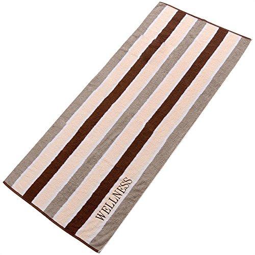aqua-textil Wellness Saunatuch XXL 90 x 220 cm Streifen braun Baumwolle Sauna Handtuch Frottee Strandtuch