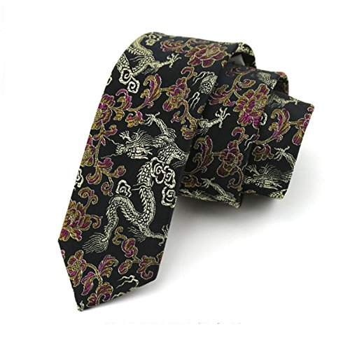 HXCMAN 7cm negro amarillo dorado dragón chino estrecha corbata Diseño clásico 100% seda Corbata de hombres fiesta casual negocio banquete Boda novio en caja de regalo