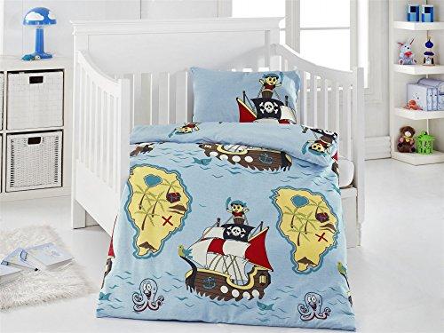 Parure de lit 2 pièces en coton renforcé avec housse de couette 100 x 135 cm 40 x 60 cm motif pirates bleu
