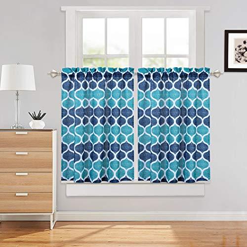 "Haperlare Kitchen Cafe Curtains, Geometric Pattern Short Bathroom Window Curtain, Trellis Design Half Window Covering Tier Curtains, 28"" x 36"", Teal/Navy, Set of 2"