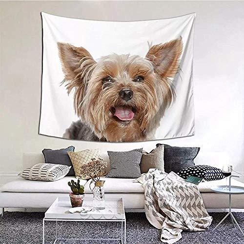 Tapiz Impresión 3D Lindo Yorkshire Terrier Yorkshire Terrier Tejido colgante Mantel Perro Animal Cachorro Alfombras de poliéster Vintage Decoración del hogar