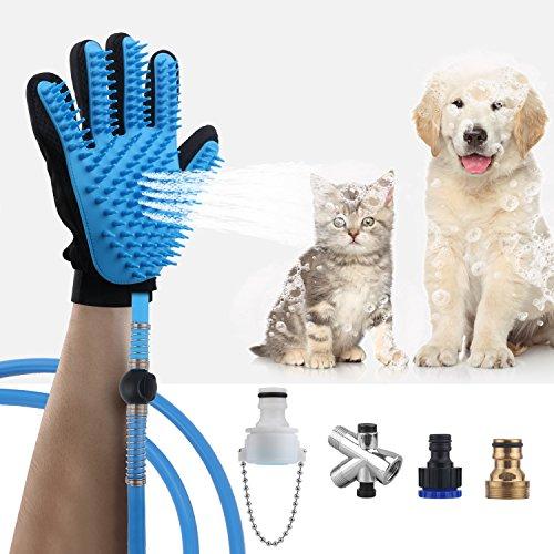 AEMIAO Haustier Dusche Sprayer, Multifunktionales Hundedusche Sprayer Handheld Pet Bürste Handschuh Haustier Baden Werkzeug Pflegenwerkzeug Bath Massager mit 3 Hahn Adaptern für Hund, Katze