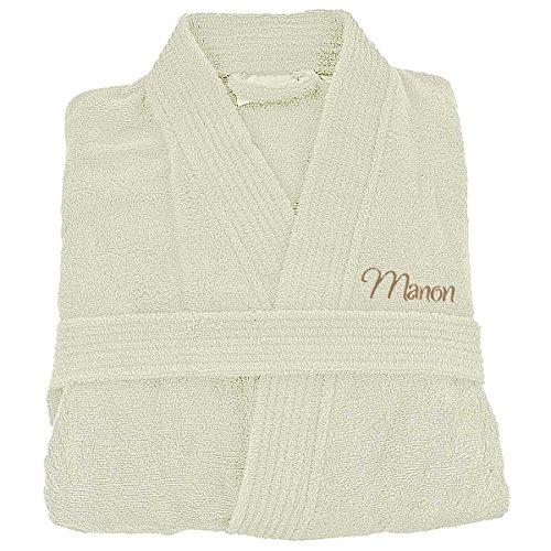 Bademantel, Damen und Herren, 100% Baumwolle, bestickt, personalisierbar, Baumwolle, elfenbein, M