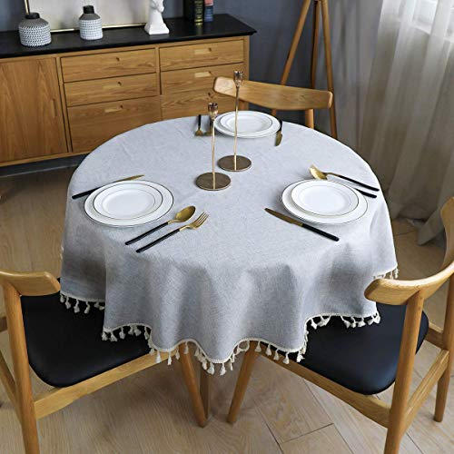 MORIGEM runde Tischdecke, Baumwoll-Leinen Tischdecke, Tischdecke aus Baumwollleinen mit Quasten für die Tischdekoration in der Küche, Durchmesser ca. 150cm, Grau