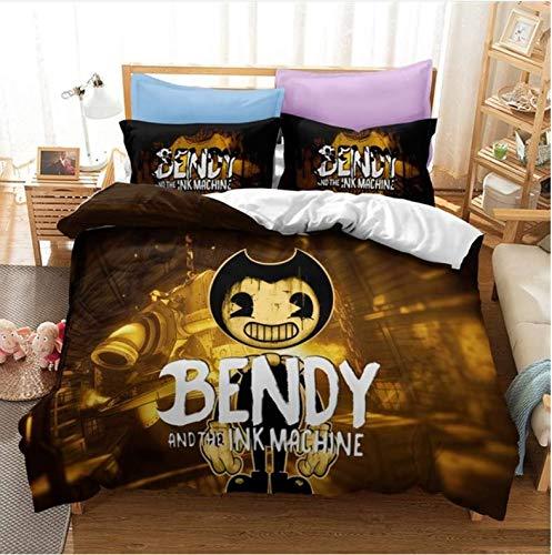 Dekbedovertrek Bendy And The Ink Machine 3D Beddengoed Set Cartoon Odyssey Game Gedrukt Dekbedovertrek Set Twin…