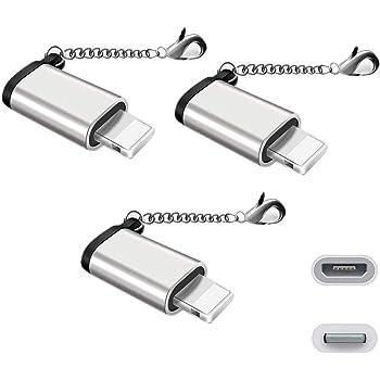 【改善版]Micro USB & Lightning変換アダプタ マイクロ USB ライトニング変換アダプタ 充電と高速データ転送アルミニウム合金 紛失を防ぐキーホルダー付き 8pin iPhoneX iPhone8 iPhone7 iPhone6s iPad mini 全機種対応 micro USB to iPhone 変換コネクタ( 3個セット)