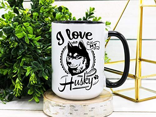 Taza de café con texto en inglés 'I Love My Husky Husky, siberian Husky Mom, Dog Mom, Dog Dad, Siberian Husky Gifts, I Love My Husky Gift Taza de cerámica de 325 ml