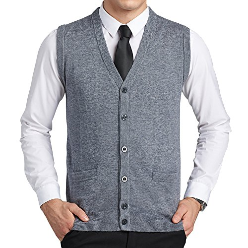 Mens Wool V-Neck Gilet Sleeveless Vest Waistcoat Classic Gentleman Knitwear Sweater Tank Tops