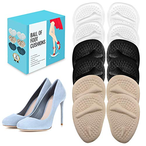 (12 Pieces) Metatarsal Pads for Women | Ball of Foot Cushions for Pain Relief | Reusable Shoe Inserts for Women