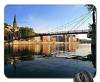 午後の川と町の橋マウスパッドアンチスリップデスクトップマウスパッドゲーム用マウスパッド