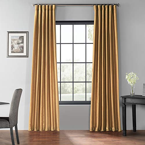 HPD Half Price Drapes PDCH-KBS8BO-108 Blackout Vintage Textured Faux Dupioni Curtain (1 Panel), 50 X 108, Flax Gold