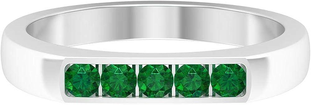 Tulsa Mall Long-awaited 1 3 CT Round Shape Emerald Green Wedding Band Ma Gemstone Ring