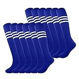 Fitliva Tube Bulk Socks Team Uniform Colorful pattern Girls Boys Soccer Sports Socks with White Stripe (12pairs-Royal Blue)