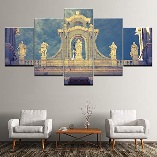 RMRM Imágenes de Lienzo Decoración para el hogar Sala de Estar Impresiones HD 5 Piezas Virgen María Jesús Pintura Ortodoxa Religión Edificio Cartel Arte de la Pared 30x40cm 30x60cm 30x80cm