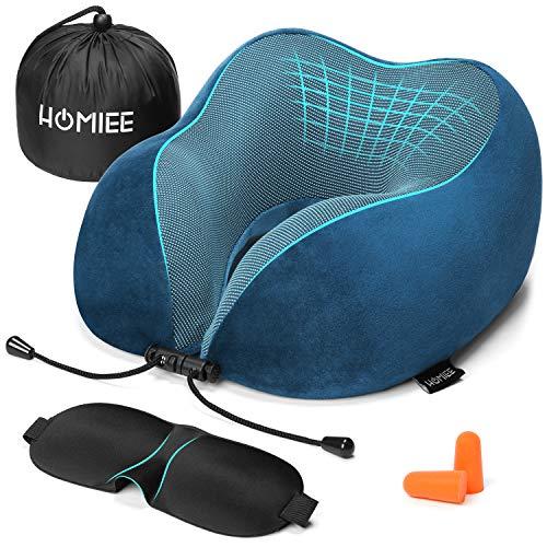 HOMIEE Reise Nackenkissen, Orthopädisches Nackenkissen, Schlafen Memory Foam Stoff Ergonomisches Nackenstützkissen für optimalen Komfort durch Beste Memory Foam Technologie (Blau)