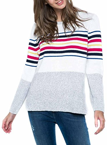 Tommy Jeans Hilfiger Denim Damen Pullover grau weiß bunt gestreift Large
