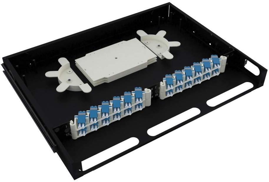 CableRack 1U Telescoping Rackmount Fiber Enclosure 24-Core Black with 24 Singlemode LC Couplers