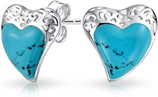 Bali Style Filigree Stabilized Turquoise Heart Shaped Stud Earrings For Women For Girlfriend 925 Sterling Silver