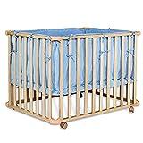 dibea Lettino mobile con sponde e ruote per bebè e bambini culla per bambini regolabile in altezza...