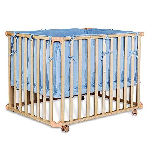 dibea BB00440, Mobiles Babybett/Gitterbett (Holz) für Kleinkinder, Set mit Bettdecke & Kopfkissen, geeignet für Matratzen 90x60 cm (blau)