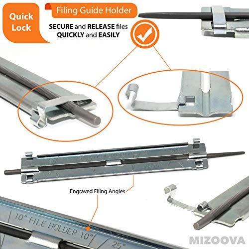 MIZOOVA 10 Piece Chainsaw Sharpener File Kit with 5/32 3/16 7/32 Round Files, 6 Inch Flat File, Depth Gauge, Filing Guide Holder, Hardwood Handle