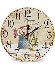 LOHAS Home 12 Inch Silent Vintage Wooden Round Wall Clock Roman Numeral Vintage Rustic Chic Style Home Decor Wooden Round Wall Clock (Roman Holiday)