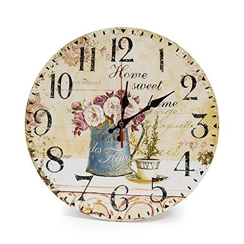 shabby orologio da parete LOHAS Home 30cm Retro Wall Clock Vintage Decor Silent Non Ticking Orologi al Quarzo