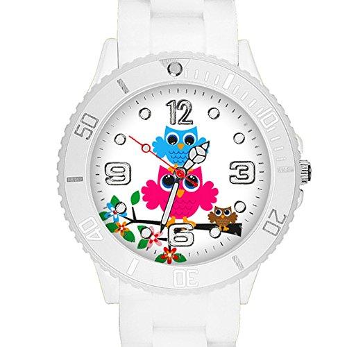 Taffstyle Kinder Armbanduhr Silikon Sportuhr Bunte Sport Uhr mit Blumen Eulen Familie Motiv Analog Quartz Little 34 mm Weiß