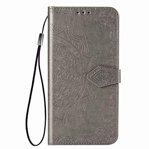 TOPOFU Funda para Samsung Galaxy Quantum 2,Libro Cuero Carcasa con [Cierre Magnético][Función de Soporte][Ranura para Tarjetas],3D Patrón de Mandala PU/TPU Flip Cover Case,Gris