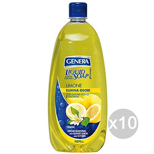 Lot 10 génère Savon liquide Recharge Citron anti-odeurs Lt 1 Soin et nettoyage du corps