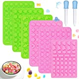 6PCS Silicone Candy Gummy Molds, FULANDL Food Grade Mini Silicone Chocolate Molds Ice Cube Tray with 2 Droppers, Non Stick Soft Jelly Mold Including Fruits, Animals, Heart Shapes