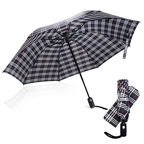 Third Floor Umbrellas - 46 Inch Automatic Open and Close Inverted Umbrella - Compact Reverse Umbrella Windproof - Big Lightweight Upside Down UV Travel Umbrella for Car - Closes Inside Out …