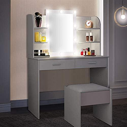 Tocador, Tocador LED con Taburete Iluminado Y Espejo, Tocador con 10 Bombillas LED, 3 Modos De Iluminación, 2 Cajones Y Compartimentos