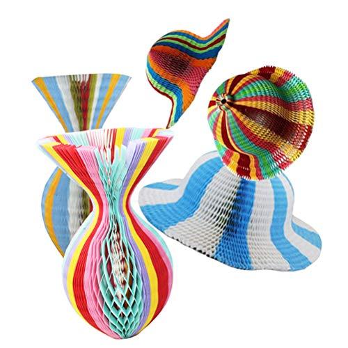 BESPORTBLE 5 stücke Regenbogen Farbe Papier Origami Sonnenhüte DIY Folding Vase Form Hut Outdoor Kappe Sommer Strand Sonnencreme Hut für Dame Erwachsene Zubehör