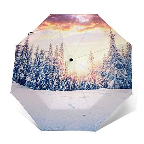 Regenschirm Taschenschirm Kompakter Falt-Regenschirm, Winddichter, Auf-Zu-Automatik, Verstärktes Dach, Ergonomischer Griff, Schirm-Tasche, Weihnachtsszene Berg