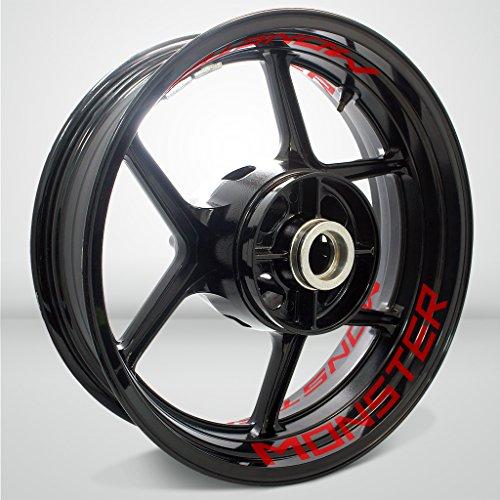 Brillante Rojo Motocicleta Moto Llanta Inner Rim Tape Decal Pegatinas para Ducati Monster