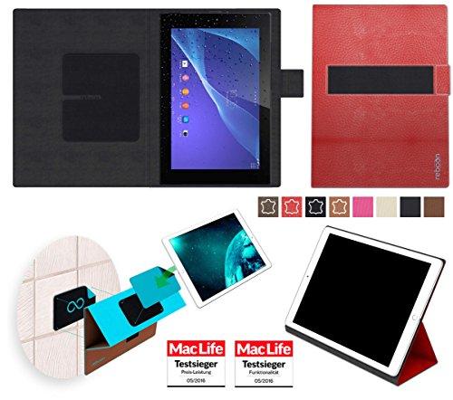 reboon Hülle für Sony Xperia Z2 Tablet Tasche Cover Case Bumper   in Rot Leder   Testsieger