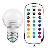 NNIUK 1 x E27 3W Schraube LED Bulb 16 Farbwechsel Dimmbar mit Fernbedienung