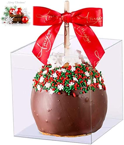 35 PCS Candy Apple Box With Hole Top 4 x 4 x 4 PET Clear Favor Boxes for Caramel Apples Treat product image