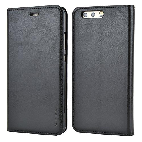 Mulbess Funda Huawei P10 Plus [Libro Caso Cubierta] Slim de Billetera Cuero Carcasa para Huawei P10 Plus Case, Negro