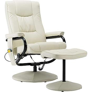 vidaXL Fauteuil de Massage avec Repose Pied Electrique Chaise Inclinable de Massage Bureau Salon Salle de Séjour Chambre à Coucher Intérieur Crème