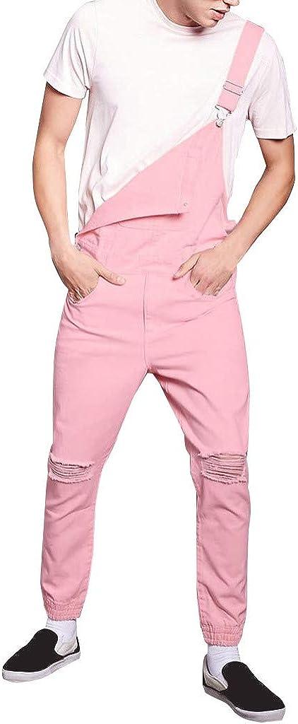 IHGTZS Suspender Pants for Men, Mens Jeans Wash Overall Jumpsuit Streetwear Pocket Trousers